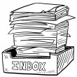 Stock Vector: Overstuffed inbox sketch