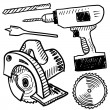 Power tools vector sketch — 图库矢量图片