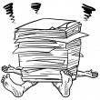 Too much paperwork stress sketch — Stock Vector