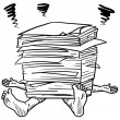 Too much paperwork stress sketch - Stock Vector