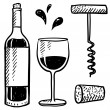Wine objects sketch — Stock Vector