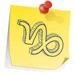 Capricorn zodiac sticky note — Stock Vector