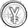 Stock Vector: Japanese Yen currency symbol coin