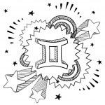 Gemini zodiac pop sketch — Stock Vector