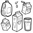 Milk and juice cartons sketch — 图库矢量图片