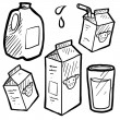 Milk and juice cartons sketch — ストックベクタ