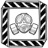 Gas mask warning sign sketch — Stock Vector