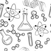 Seamless science laboratory vector background — Vettoriale Stock