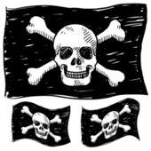 Pirate flag vector sketch — Stock Vector