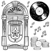 Retro jukebox sketch — Stock Vector