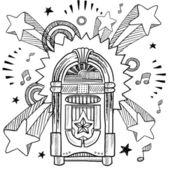 Vintage jukebox pop sketch — Stock Vector