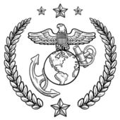 Ons militaire insignes van de marine corps — Stockvector