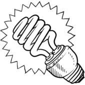 Compact fluorescent light bulb sketch — Stock Vector