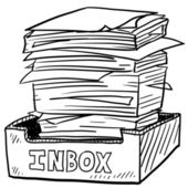 Overstuffed inbox sketch — Stock Vector