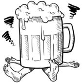 Crushed by alcoholism sketch — Stock Vector