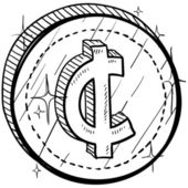 Cent currency symbol coin — Stock Vector