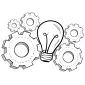 Working the gears of invention sketch — Stock Vector