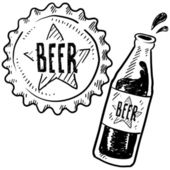 Beer bottle with cap sketch — Wektor stockowy