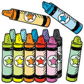 Colorful crayons vector sketch — Vector de stock