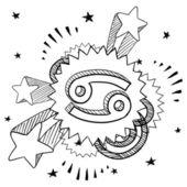 癌症生肖流行素描 — 图库矢量图片