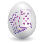 Playing card on easter egg — Stock Vector