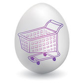 Shopping cart on easter egg — Stock Vector