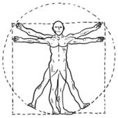 Vitruvian man sketch — Stock Vector