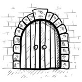 Secure castle door sketch — Stock Vector