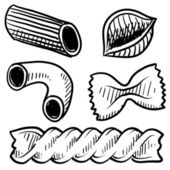 Pasta assortment sketch — Stock Vector