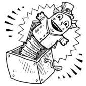 Jack in the box sketch — Stock Vector