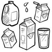 Milk and juice cartons sketch — Stock Vector