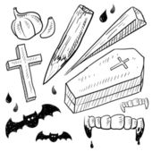 Vampire lore objects sketch — Stock Vector