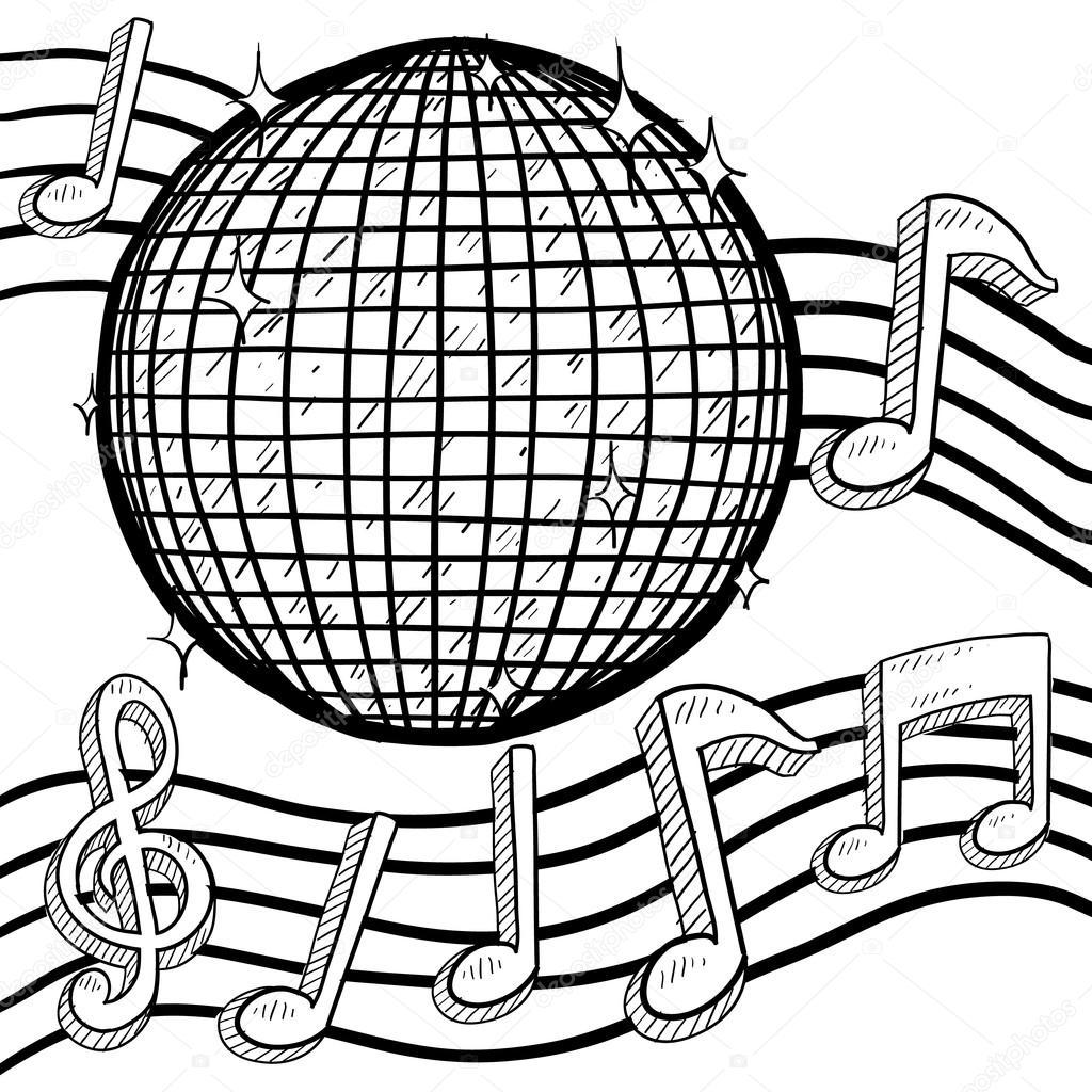 disco with notes sketch stock vector