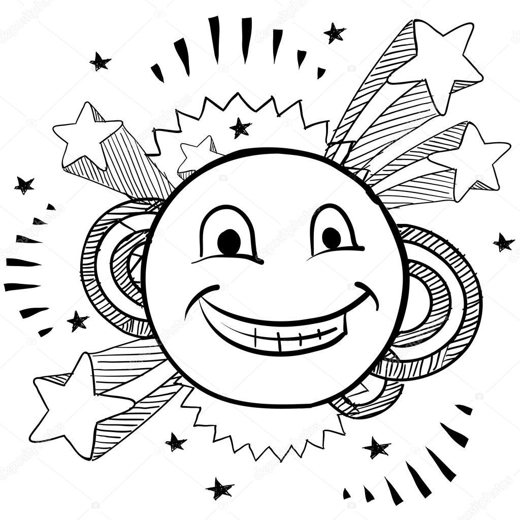 Smiley face sketch stock illustration