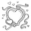 Valentine's Day heart with ribbons sketch — Stock Vector