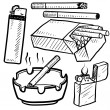 Stockvector : Cigarette smoking objects sketch