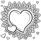 Valentine's Day heart with elaborate border sketch — Vettoriale Stock