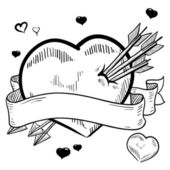 Romantic heart pierced by arrows sketch — Vettoriale Stock