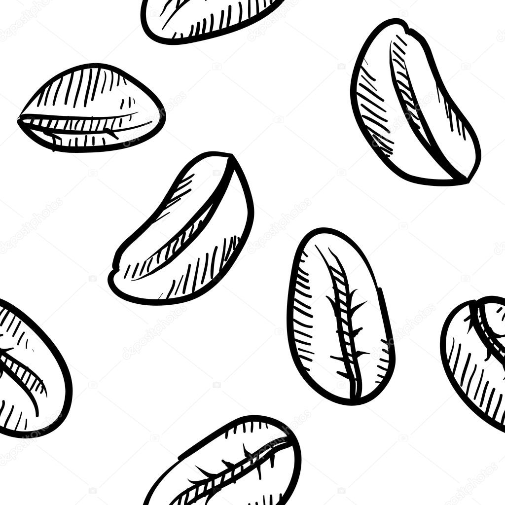 Doodle style seamless coffee bean background. File will tile easily
