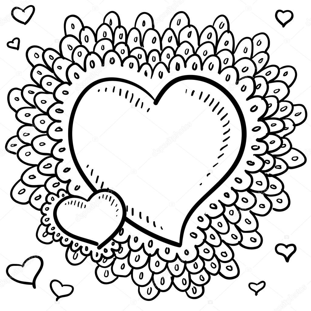 Valentine's Day heart with elaborate border sketch — Stock Vector ...
