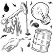 Stock Vector: Oil and gas energy objects sketch