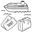 Cruise or ocean liner objects sketch — 图库矢量图片