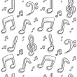 Seamless music notes vector background — Stock Vector