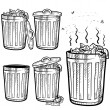 Garbage and trash cans assortment sketch — Stock Vector