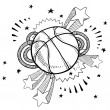 Excitement about basketball sketch — Imagens vectoriais em stock