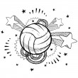 Постер, плакат: Excitement about volleyball sketch