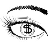 Eyes on profit business sketch — Stock Vector