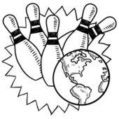 Bowling mit der welt-skizze — Stockvektor