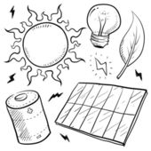 Solar power objects sketch — Stock Vector