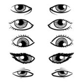 Human eyes assortment sketch — Stock Vector